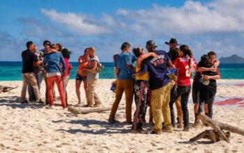 "Survivor winners are split into tribes during the opening moments of Survivor: Winners at War's first episode, ""Greatest of the Greats"""