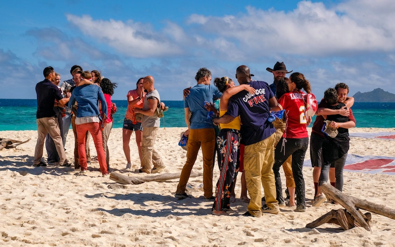 """Survivor winners are split into tribes during the opening moments of Survivor: Winners at War's first episode, """"Greatest of the Greats"""""""