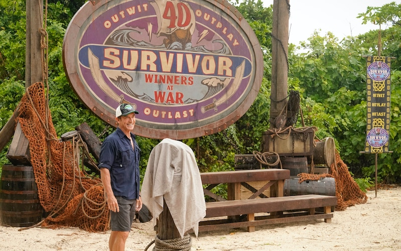 Jeff Probst during the premiere of Survivor: Winners at War, which was previewed during the Survivor at 40: Greatest Moments and Players retrospective