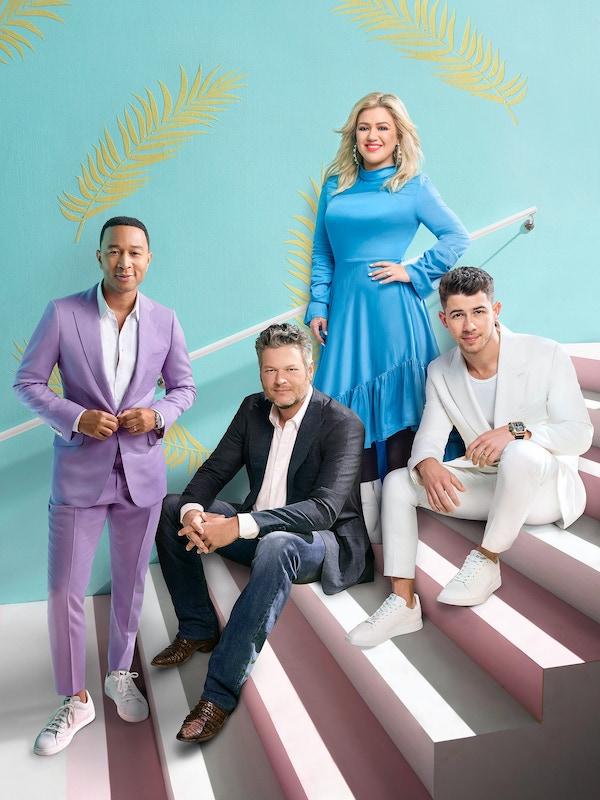 The Voice season 18 coaches John Legend, Blake Shelton, Kelly Clarkson, and Nick Jonas