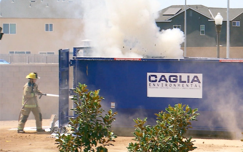 A dumpster fire occurred on Extreme Makeover: Home Edition when rags spontaneously combusted while the team was building a new house for the Reeder Family.