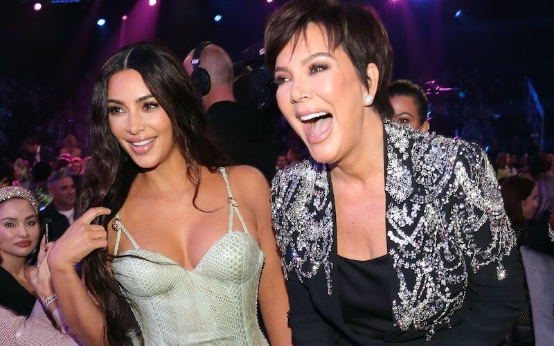 Kim Kardashian West and Kris Jenner at the 2019 E! People's Choice Awards on November 10, 2019. Their E! show won the People's Choice Award for reality TV show.