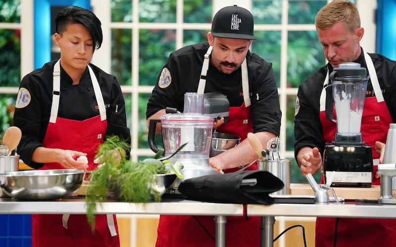 Melissa King, Joe Sasto, Bryan Voltaggio work on the quickfire challenge during the premiere of Top Chef: All Stars LA