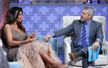 Teresa Giudice and Andy Cohen during the Real Housewives of New Jersey reunion airing in March 2020