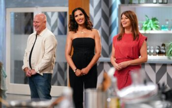Tom Colicchio, Padma Lakshmi, and Gail Simmons in the new Top Chef: All Stars LA kitchen