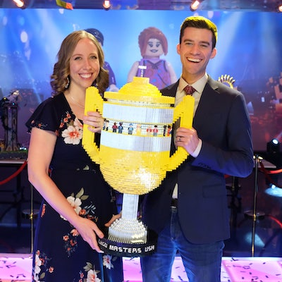 Amy and Tyler with Tyler's Lego Master trophy