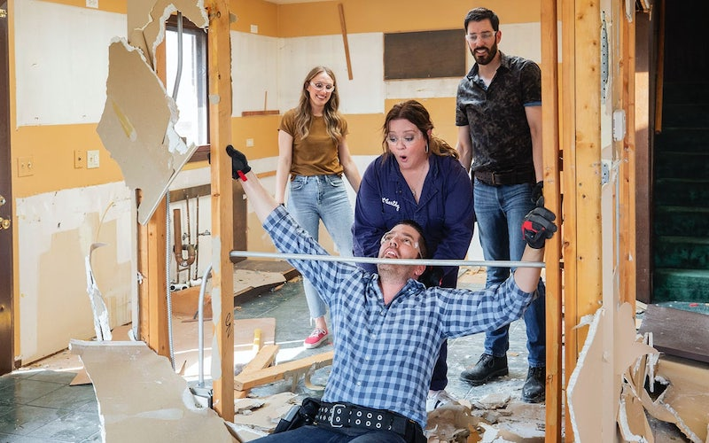 Melissa McCarthy with Drew and Jonathan Scott on the new HGTV series Celebrity IOU