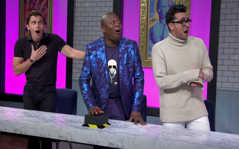 Dishmantled host Tituss Burgess with guest judges Antoni Porowski and Dan Levy