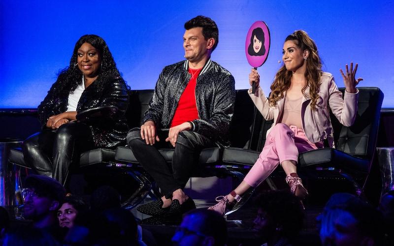 Funny Dance Show judges Loni Love, Justin Martindale, and Allison Holker.