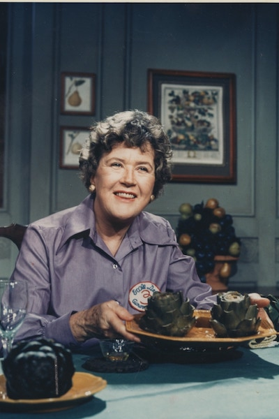 Julia Child with artichokes on Julia Child's Best Bites