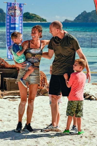 Kim Spradlin-Wolfe with her husband and kids on Survivor: Winners at War