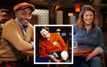 Marcus Samuelsson and Vivian Howard watching and discussing The French Chef. Inset: Julia Child on an episode of her show