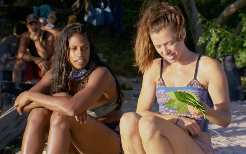 Natalie Anderson and Parvati Shallow waiting for their fellow Edge of Extinction residents to leave the damn shelter so they can find the extortion advantage on Survivor: Winners at War episode 11