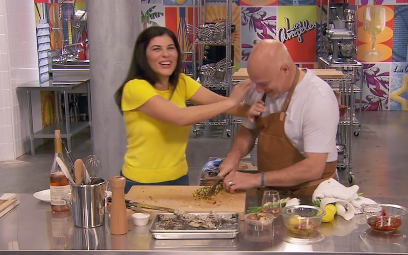 Nilou Motamed and Tom-Colicchio have fun as Tom attempts the same challenge as the Top Chef All Stars LA contestants, in the web series What Would Tom Do.