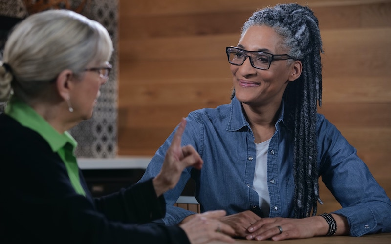 Sara Moulton and Carla Hall on Dishing with Julia, discussing an episode of The French Chef