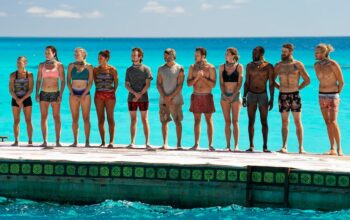 Denise Stapley, Sarah Lacina, Sophie Georgina Clarke, Michele Fitzgerald, Adam Klein, Anthony (Tony) Vlachos, Nick Wilson, Kim Spradlin-Wolfe, Jeremy Collins, Ben Driebergen, and Tyson Apostol at the start of an episode 9 challenge on Survivor: Winners at War