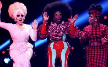 Trixie Mattel, Bob the Drag Queen, and Monet X Change on RuPaul's Secret Celebrity Drag Race episode 1