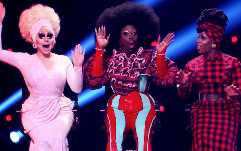 Trixie Mattel, Bob the Drag Queen, and Monet X Change on RuPaul's Secret Celebrity Drag Race episode 1