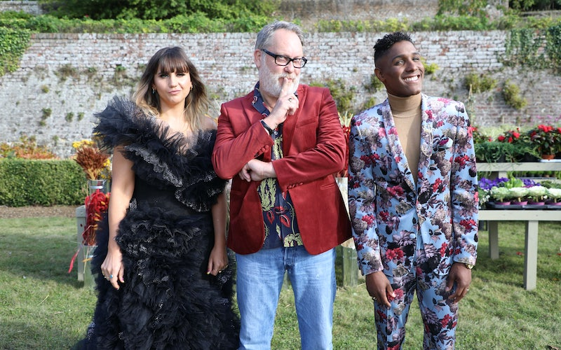 Big Flower Fight hosts Natasia Demetriou and Vic Reeves and judge Kristen Griffith-VanderYacht