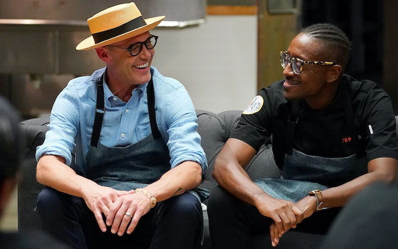 Brian Malarkey and Gregory Gourdet during some rare Restaurant Wars downtime on Top Chef All Stars LA
