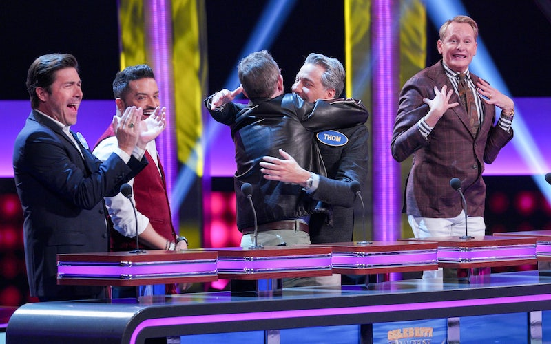 The original Queer Eye Fab Five—Kyan Douglas, Jai Rodriguez, Ted Allen, Thom Filicia, and Carson Kressley—compete against the new Fab Five (minus Karamo) on Celebrity Family Feud