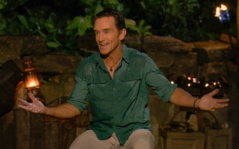 Jeff Probst, all wet during Survivor: Winners at War's rainy final Tribal Council