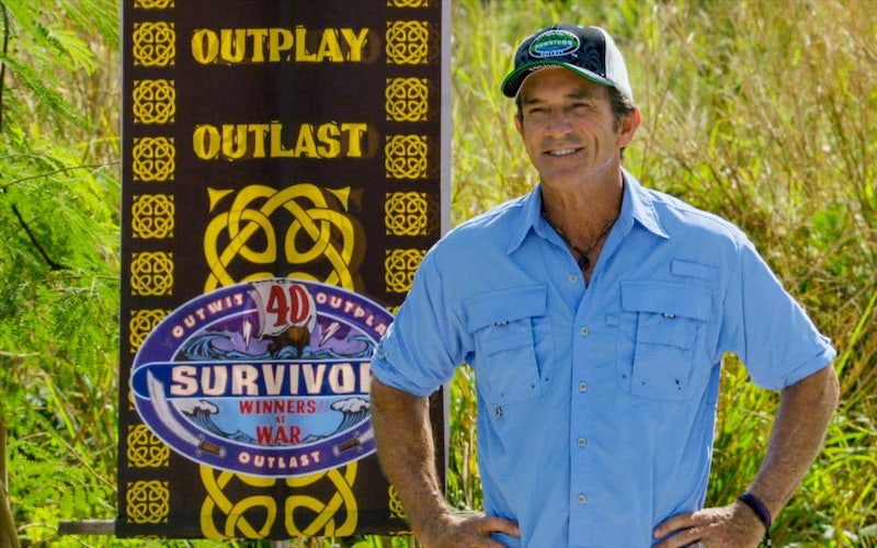 "Jeff Probst during the Survivor: Winners at War finale, ""It All Boils Down to This."""