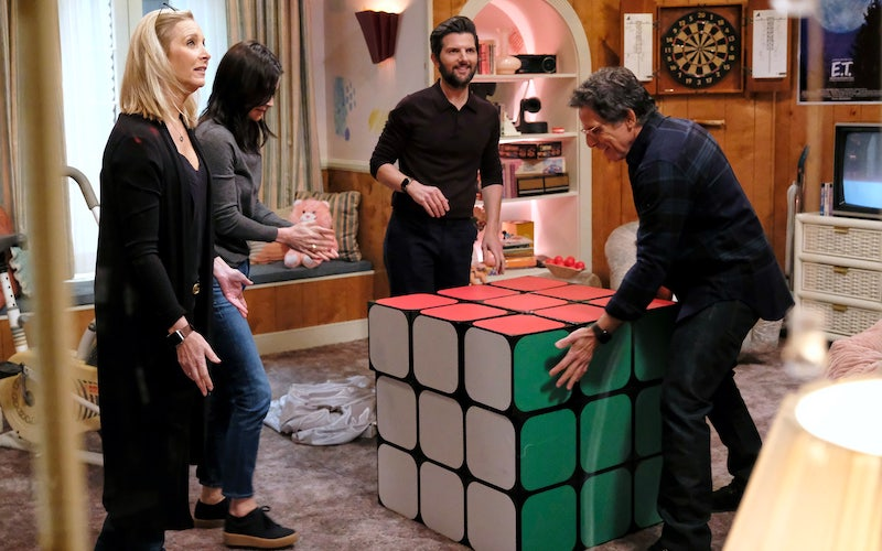 Lisa Kudrow, Courteney Cox, Adam Scott, and Ben Stiller try to figure out a clue on Celebrity Escape Room