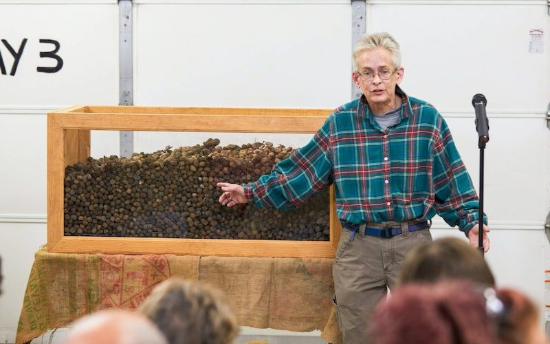 Mary shows off 9,000 moose turds at a town meeting on Tirdy Works