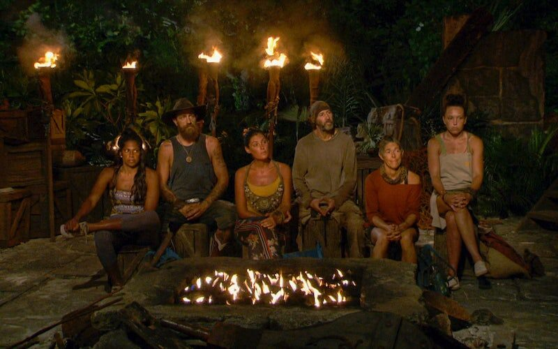 Natalie Anderson, Ben Driebergen, Michele Fitzgerald, Tony Vlachos, Denise Stapley and Sarah Lacina at Tribal Council during the Survivor Winners at War finale.