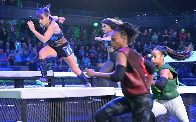 """""""Atomic Ant,"""" whose real name is Lorena Abreu, chases contestants during the Ultimate Tag series premiere"""