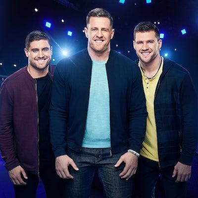 Derek, J.J., and T.J. Watt, hosts of Fox'sUltimate Tag