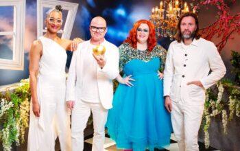 Crazy Delicious judges Carla Hall and Heston Blumenthal, host Jayde Adams, and judge Niklas Ekstedt