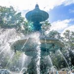 A fountain in Jardin Anglais in Geneva, Switzerland on the summer 2020 reality TV show schedule and guide