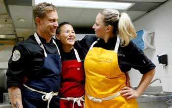 Bryan Voltaggio, Melissa King, and Stephanie Cmar during the finale of Top Chef All Stars LA.