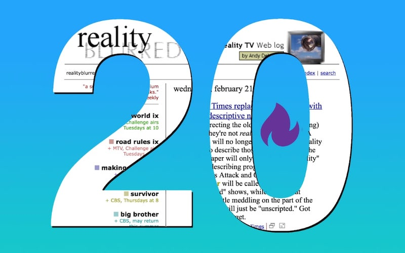 reality blurred's 20th anniversary: A screenshot of reality blurred from its very first year on the planet.
