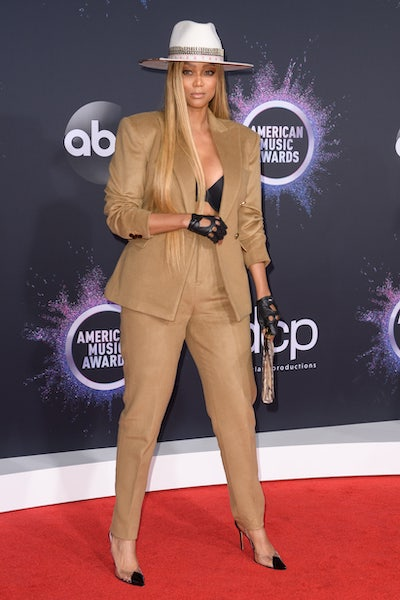 Tyra Banks on the American Music Awards red carpet in 2019.