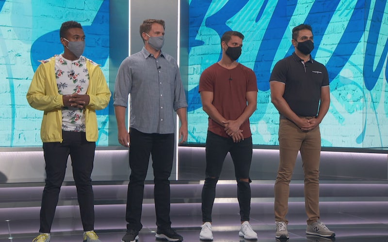 The BB22 all-star cast returned in groups of four, and stood in front of the new front-of-house backdrop wearing face coverings