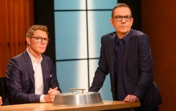 Bobby Flay and Ted Allen in the Chopped kitchen for the mash-up tournament Chopped: Beat Bobby Flay