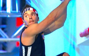 Drew Drechsel competes in American Ninja Warrior: USA vs the World in 2018.