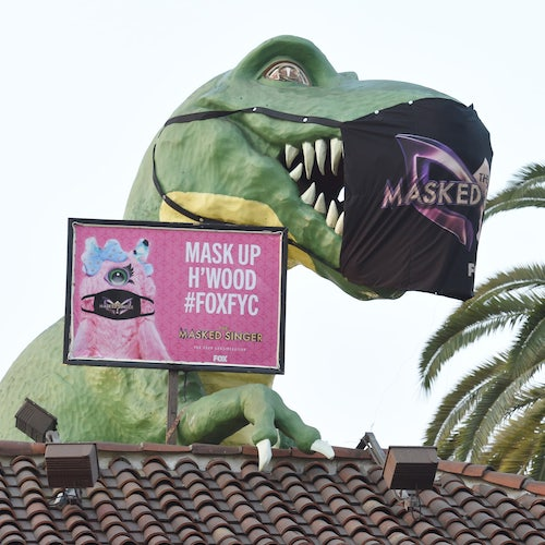 The Masked Singer's Emmy FYC campaign has put masks on things in Hollywood, like this dinosaur at Ripley's Believe It Or Not