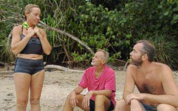 Sue, Rudy, and Rich discuss voting off Kelly or Sean during the Survivor Borneo episode 11 immunity challenge