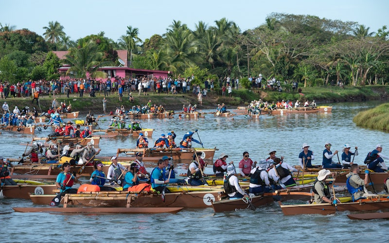 The 66 teams began World's Toughest Race: Eco-Challenge Fiji by paddling down a river