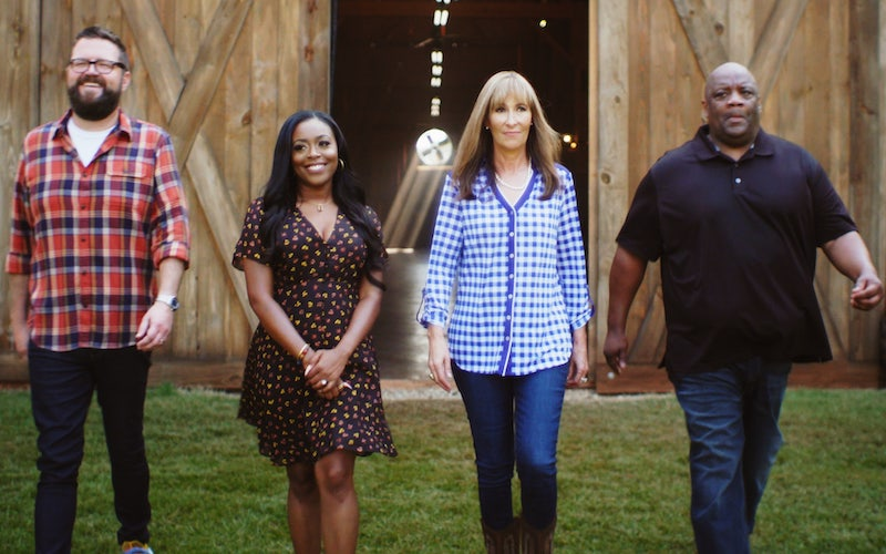 The American Barbecue Showdown hosts Rutledge Wood and Lyric Lewis, and judges Melissa Cookston and Kevin Bludso