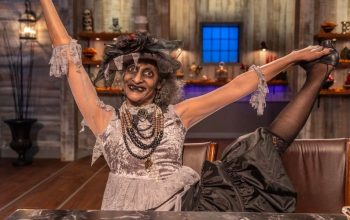 "Halloween Baking Championship host Carla Hall, who will judge and host season 6. Here, she's in costume during season 4 as ""a vintage ghost"""