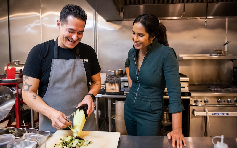 Elemi chef and owner Emiliano Marentes with Padma Lakshmi on the Taste the Nation episode