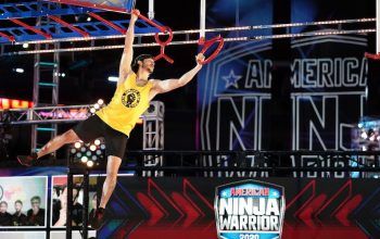 Flip Rodriguez, wearing a Ninjas for Black Lives t-shirt, competes during the qualifying round of American Ninja Warrior season 12