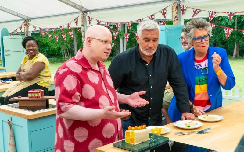 New Great British Baking Show co-host Matt Lucas with judges Paul Hollywood and Prue Leith during season 11.