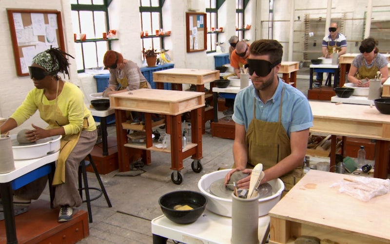 "The Great Pottery Throw Down's blindfolded ""Throw Down"" challenge in episode two of the first season."