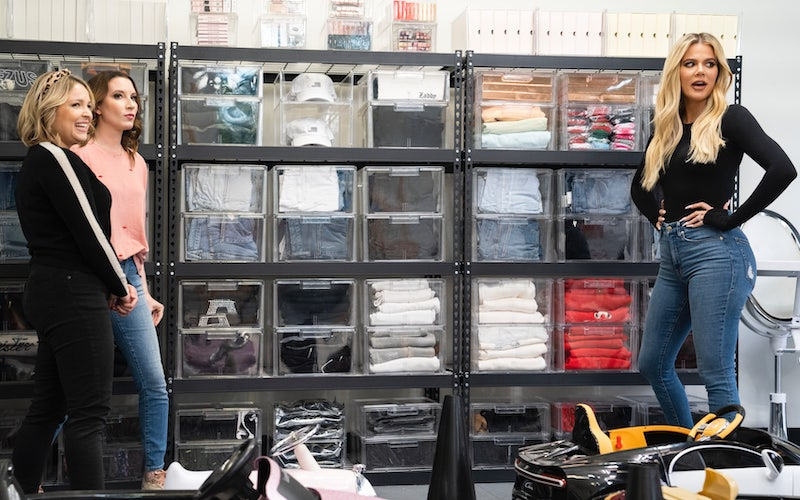 Joanna Teplin and Clea Shearer with Khloe Kardashian in her garage on Netflix's Get Organized with The Home Edit